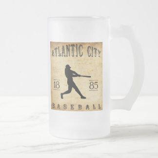 1885 Atlantic City New Jersey Baseball Frosted Glass Mug