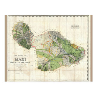1885 De Witt Alexander Map of Maui, Hawaii Postcard