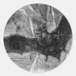 1885 Vampire Bat Illustration Round Sticker