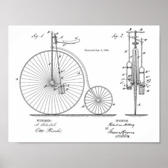 1885 Vintage High Wheeler Bicycle Patent Art Print