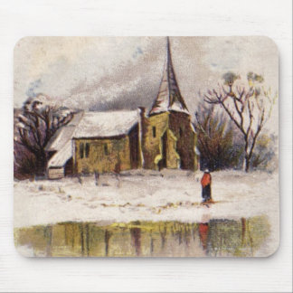 1886: A snowy Victorian winter scene Mouse Mat