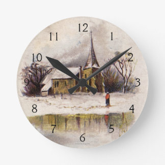 1886: A snowy Victorian winter scene Wall Clock