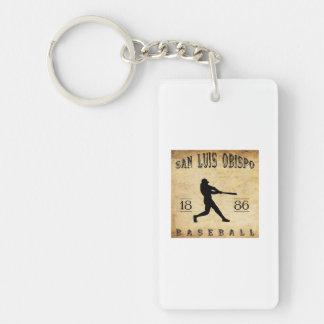 1886 San Luis Obispo California Baseball Double-Sided Rectangular Acrylic Key Ring