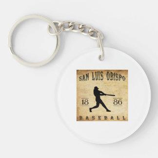 1886 San Luis Obispo California Baseball Double-Sided Round Acrylic Key Ring