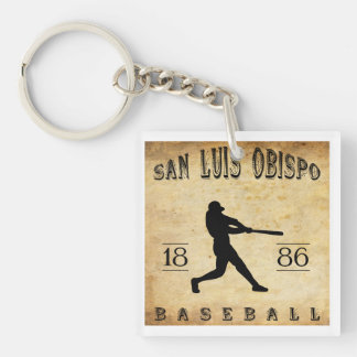 1886 San Luis Obispo California Baseball Double-Sided Square Acrylic Key Ring