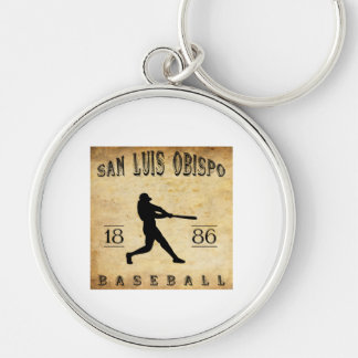 1886 San Luis Obispo California Baseball Silver-Colored Round Key Ring