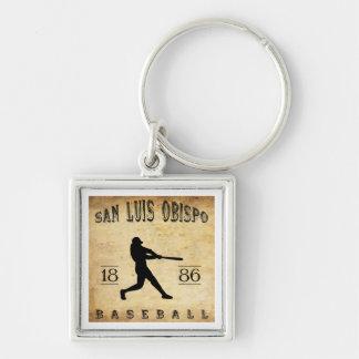 1886 San Luis Obispo California Baseball Silver-Colored Square Key Ring
