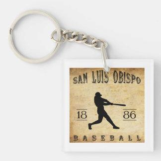 1886 San Luis Obispo California Baseball Single-Sided Square Acrylic Key Ring