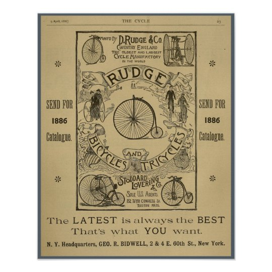 1886 Vintage Rudge Bicycle Magazine Ad Art Poster