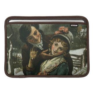 1887: A man tries to kiss a shy woman Sleeve For MacBook Air
