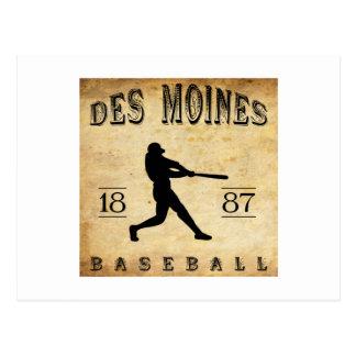 1887 Des Moines Iowa Baseball Postcard