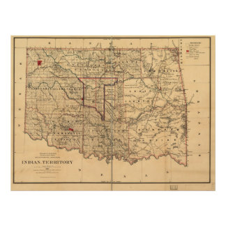 1887 Indian Territory Map Oklahoma Territory Poster