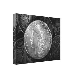 1887 Liberty Silver Dollar Stretched Canvas Print