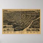 1887 Macon, GA Birds Eye View Panoramic Map Poster
