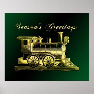 1887 Steam Locomotive Season s Greetings Poster