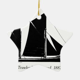 1887 trawler ketch-rigged - tony fernandes christmas ornament