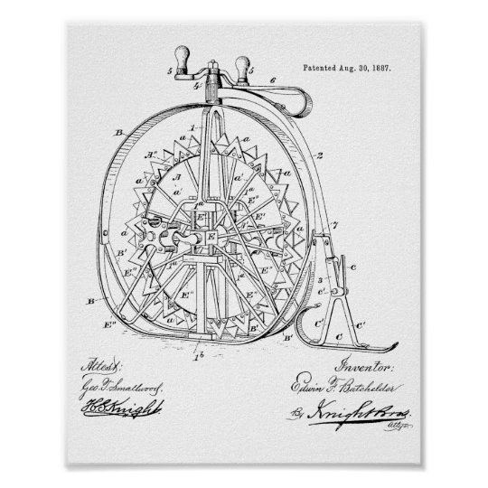 1887 Vintage Ice High Wheeler Bicycle Patent Print