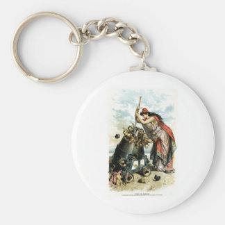 1888 Anti US Labour Party Political Cartoon Basic Round Button Key Ring