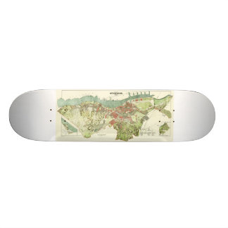 1888 Map of Gothenburg Sweden by Ludvig Simon Skate Board Deck