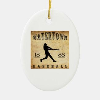 1888 Watertown New York Baseball Ceramic Oval Decoration
