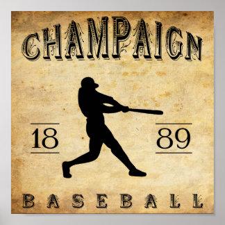 1889 Champaign Illinois Baseball Print