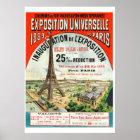 1889 French world Fair Eiffel Tower Paris vintage Poster