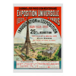 1889 French world Fair Eiffel Tower Paris vintage Poster