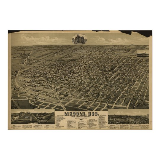 1889 Lincoln, NE Birds Eye View Panoramic Map Poster