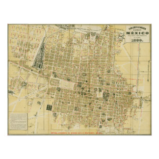 1889 Map of Mexico City Poster