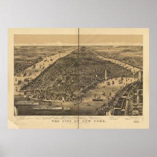 1889 New York City NY Birds Eye View Panoramic Map Poster