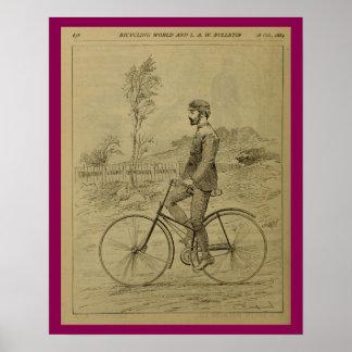 1889 Vintage Bicycle Magazine Ad Art Poster