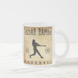 1890 Cedar Rapids Iowa Baseball Frosted Glass Mug