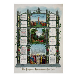 1890 TEN COMMANDMENTS and LORD's PRAYER Poster