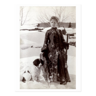 1890 Woman and her Brittany Hunting Dog Postcard