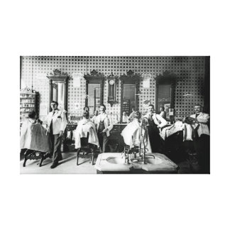 1890's Barber Shop Photograph Original Canvas Print