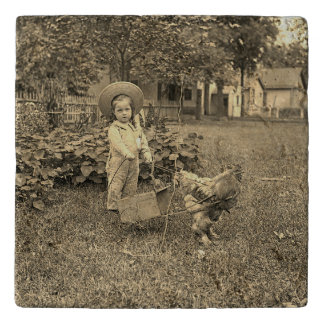 1890's Garden LIttle Girl With Rooster Cart Photo Trivet