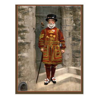 1890s London Yeoman Warder, Beefeater photo Postcard