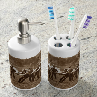 1890's Men Man Tug-O-War Tug of War Sports sepia Soap Dispenser And Toothbrush Holder