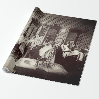 1890's Mens Barber Shop Hair Salon Photograph Wrapping Paper