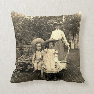 1890's Photo Heirloom Garden Mother Daughters girl Cushion