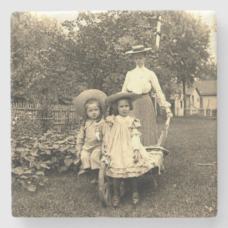 1890's Photo Heirloom Garden Mother Daughters girl Stone Coaster