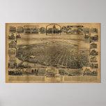 1890's Sacramento CA Birds Eye View Panoramic Map Poster