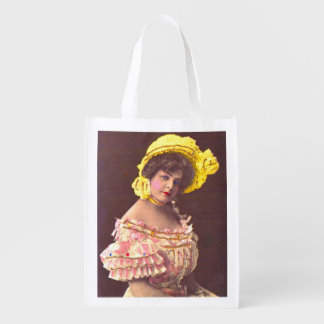 1890s woman in frilly attire print reusable grocery bag