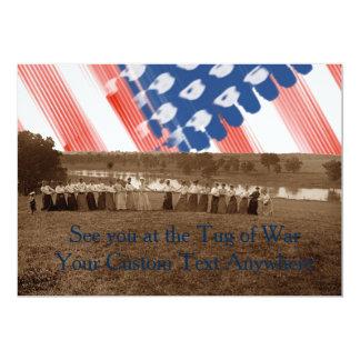 1890's  Women Tug of War Tug-O-War American Flag Card