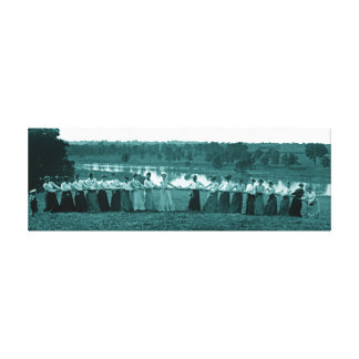 1890's Women Woman Tug-O-War Fox River green Canvas Print