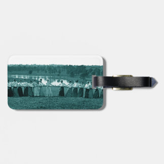 1890's Women Woman Tug-O-War Fox River green Luggage Tag