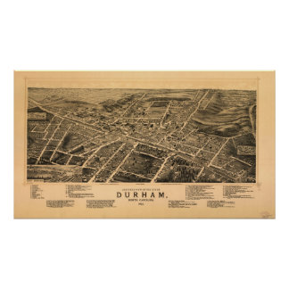 1891 Durham, NC Birds Eye View Panoramic Map Print