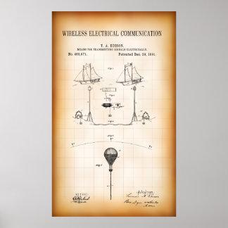 1891 FIRST WIRELESS COMMUNICATION PATENT POSTER