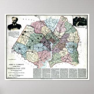 1891 Map of Washington City & Surrounding Country Print