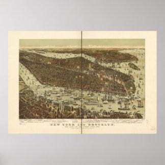 1892 New York & Brooklyn Birds Eye Panoramic Map Poster